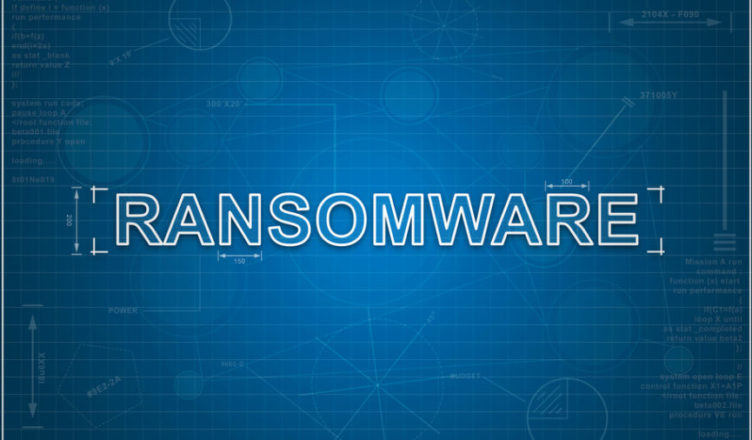 ransomware on paper blueprint background, technology concept